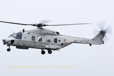 This Belgian Air Force NH-90 NFH (RN-02; cn1041/NBEN02), is seen here during its demo on the foggy spottersday at KB, prior to the 2015 Sanicole Air Show.