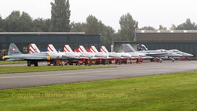 The Swiss Air Force delegation, could be seen at the X-servicing platform at KB during the foggy spottersday, prior to the Sanicole Air Show 2015. A F-5E Tiger II (J-3070; cnL1070) in standard grey c/s leads the row.