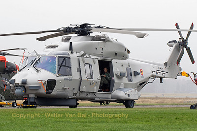 This Belgian Air Force NH-90 NFH (RN-02; cn1041/NBEN02),is seen here being towed to the take-off area, prior to its its hoisting-demo during the spottersday at KB, prior to the 2015 Sanicole Air Show.