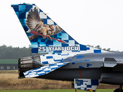 """Tail close-up of the Belgian Air Force F-16BM (FB-24; cn6J-24) with the special c/s of """"25 Years OCU""""."""