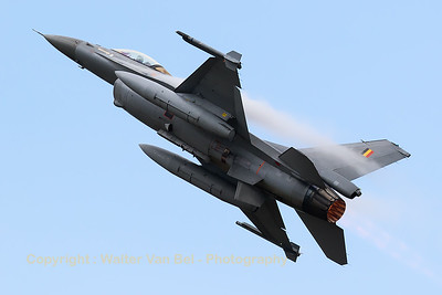 Belgian Air Force F-16AM (FA-134; cn6H-134), taking-off from KB while creating huge vortices, during a rather humid spottersday, prior to the 2015 Sanicole Air Show.