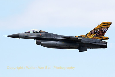 Belgian Air Force F-16AM (FA-106; cn6H-106), wearing the Tiger c/s of 31 Squadron, on take-off from KB during a rather gray spottersday, prior to the 2015 Sanicole Air Show.