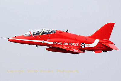 The Red Arrows left KB just after lunch, on the foggy spottersday, prior to the Sanicole Air Show 2015. It was nice to see this special coloured Hawk T.1A (XX278; cn103/312103) - with complete red vertical tail - during take-off from RWY23.