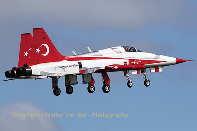 "Two Turkish Air Force NF-5A-2000's - number ""6"" (71-3049; cn3049) and number ""7"" (71-3046; cn3046) - of the ""Turkish Stars"" demo-team in close-formation take-off during the spottersday for the ""Luchtmachtdagen 2016""."