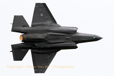 "The Royal Netherlands Air Force F-35A Lightning II (F-001; OT; cn AN-1) is seen here banking very hard during a low fly-by as part of the Air Power Demo of the Royal Netherlands Air Force (""Luchtmachtdagen 2016"" at Leeuwarden AB)."