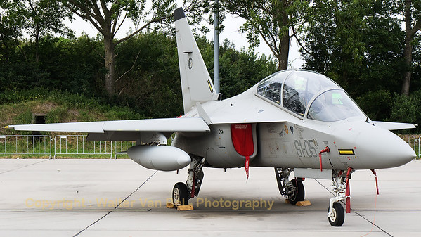 """Italian Air force Alenia Aermacchi T-346A Master (MM55153; 61-05; cn7024/B05/00004), parked in the static during the """"Luchtmachtdagen 2016"""" at Leeuwarden Air Base."""