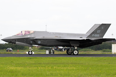 "The Royal Netherlands Air Force F-35A Lightning II (F-002;  OT; cn AN-2) is seen here backtracking over the runway at EHLW, prior to her first participation in the Air Power Demo of the Royal Netherlands Air Force (""Luchtmachtdagen 2016"" at Leeuwarden AB)."