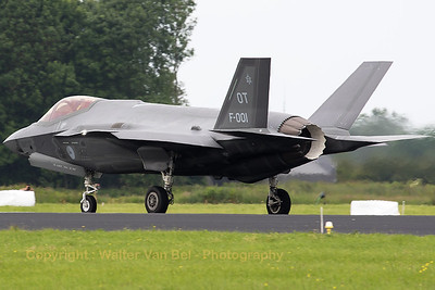 "The Royal Netherlands Air Force F-35A Lightning II (F-001;  OT; cn AN-1) is seen here backtracking over the runway at EHLW, prior to her first participation in the Air Power Demo of the Royal Netherlands Air Force (""Luchtmachtdagen 2016"" at Leeuwarden AB)."