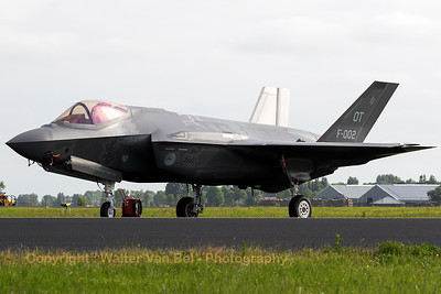 "The Royal Netherlands Air Force F-35A Lightning II (F-002;  OT; cn AN-2) in the static during her first appearance at an airshow in the Netherlands (""Luchtmachtdagen 2016"" at Leeuwarden AB)."