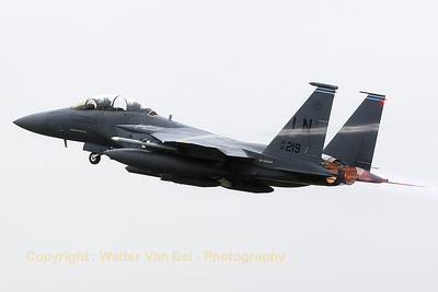 US Air Force F-15E Strike Eagle (97-0219; cn1357/E218), from the 492nd FS at RAF Lakenheath, leaves Florennes Air Base in heavy rain conditions (Belgian Air Force Days 2016).