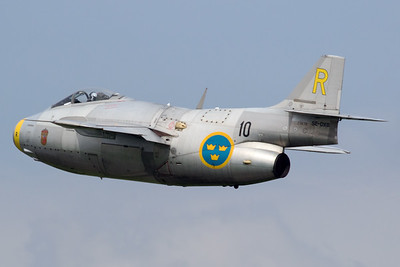 "The Swedish Air Force Historic Flight's Saab J29F ""Tunnan"" (SE-DXB; 10/R; cn29-670) is seen on take-off, during Airpower16 at Zeltweg Air Base."