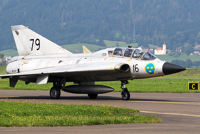 The Swedish Air Force Historic Flight's Saab Sk35C Draken (SE-DXP/79; cn35-810) on the taxitrack, after a very impressive demo during Airpower16 at Zeltweg Air Base.
