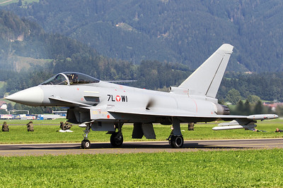 An Austria Air Force EF-2000 Typhoon S (7L-WI; cn139/GS028), posing on the taxiway, prior to its display during Airpower16 at Zeltweg Air Base.