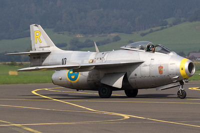 "The Swedish Air Force Historic Flight's Saab J29F ""Tunnan"" (SE-DXB; 10/R; cn29-670) is seen here on the taxi-track after completing its demo, during Airpower16 at Zeltweg Air Base."