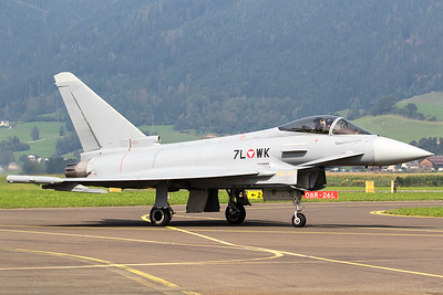 An Austria Air Force EF-2000 Typhoon S (7L-WK; cn058/GS007), posing on the taxiway, after its display during Airpower16 at Zeltweg Air Base.