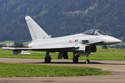 An Austria Air Force EF-2000 Typhoon S (7L-WF; cn148/AS006), posing on the taxiway, after its display during Airpower16 at Zeltweg Air Base.
