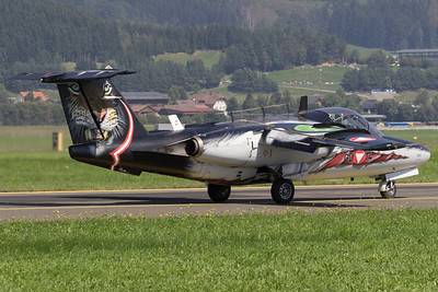 An Austria Air Force Saab 105Oe (GD-14; cn105-414), with a brilliant Tiger c/s, seen here on the taxiway, after its display during Airpower16 at Zeltweg Air Base.