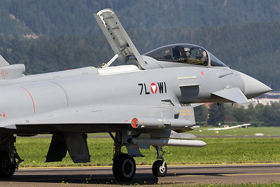 An Austria Air Force EF-2000 Typhoon S (7L-WI; cn139/GS028), extending its airbrake to greet the publuc, after its display during Airpower16 at Zeltweg Air Base.