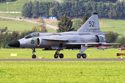 """The Swedish Air Force Historic Flight's AJS-37 Viggen (52-7, """"SE-DXN"""", cn37098),  backtracking on the runway, after a very impressive demo during Airpower16 at Zeltweg Air Base."""