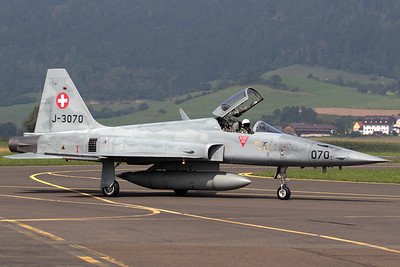 A Swiss Air Force F-5E TigerII (J-3070; 070; cnL1070), posing on the taxiway, after its display during Airpower16 at Zeltweg Air Base.