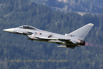 This Austria Air Force EF-2000 Typhoon S (7L-WI; cn139/GS028) is seen on take-off with the afterburners lit, during Airpower16 at Zeltweg Air Base.