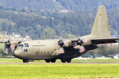 "Austrian Air Force C-130K (8T-CC; cn382-4257), still wearing its green c/s, seen here during its landing roll after a display at ""Airpower 2016"" at Zeltweg Air Base."