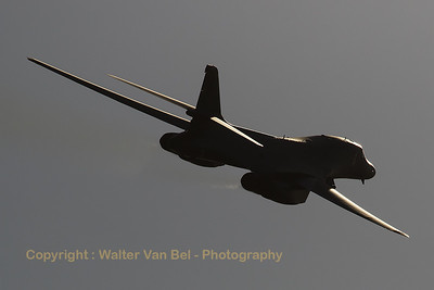 Initial fly-by by this USAF Rockwell B-1B Lancer (85-0089; DY; cn 49) - from Dyess Air Force Base, Texas - as the show-opener during the Sanicole Sunset Show 2016.