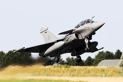 """French Air Force Rafale B (345; 4-FL), from EC1/4 """"Gascogne"""", is seen here taking off from Nancy-Ochey's RWY02 during the """"Departure Day"""", after the 2018 Air Show (LFSO)."""