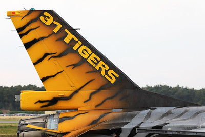 Tail close-up of 31Sqn's Tiger, a Belgian Air Force F-16AM (FA-116; cn6H-116), part of the static line-up during the Belgian Air Force Days 2018 at Kleine Brogel.