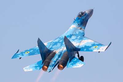 The Ukraine Air Force Su-27P (58 Blue; cn36911035612) performed an impressive demo during the Belgian Air Force Days 2018.