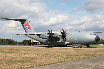 """Company owned (Airbus) A400M """"Atlas"""" (EC-400; cn056), with a special sticker on the tail to celebrate """"100 years RAF"""", at Kleine Brogel during the Belgian Air Force Days 2018. This aircraft will eventually become """"ZM421"""" for the Royal Air Force."""