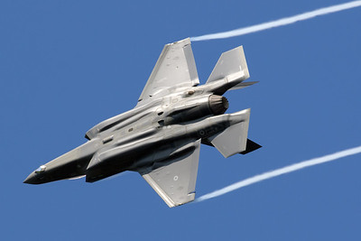 The first 5th generation aircraft ever in Belgian Air Space, an Italian Air Force F-35A (MM7359; 32-09) is seen here pulling some vapour streams on arrival over Kleine Brogel AFB during the Belgian Air Force Days 2018.