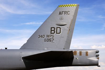 Tail close-up of a USAF B-52H (60-0057; cn464422) form the 93rd BS at Barksdale AFB (Louisiana), during the NATO-days 2018 at Mosnov Airport (Ostrava).