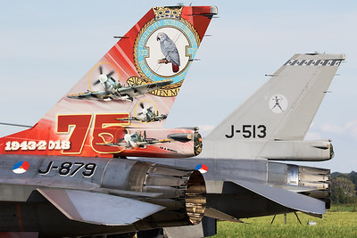 Tail close-up of a Royal Netherlands Air Force F-16AM (J-979; cn6D-96), with special c/s celebrating 75 years 322Sqn (NATO Days 2018 at Ostrava-Mosnov (LKMT).