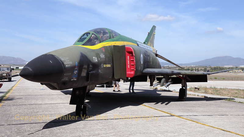 """A preserved Hellenic Air Force RF-4E Phantom II (7450; cn3883), with a special c/s of """"60 years 348 MTA"""", as static exhibit during the Athens Flying Week 2018 at Tanagra (LGTG)."""