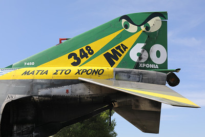"Tail close-up of a preserved Hellenic Air Force RF-4E Phantom II (7450; cn3883), with a special c/s of ""60 years 348 MTA"", as static exhibit during the Athens Flying Week 2018 at Tanagra (LGTG)."