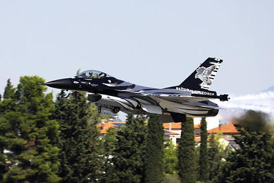 "The ""Dark Falcon"" F-16AM (FA-101; cn6H-101), piloted by Stefan ""Vador"" Darte, seen here just after take-off during the Athens Flying Week at Tanagra Air Base."
