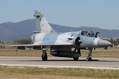 A Hellenic Air Force Mirage 2000EG (237) from 332 Mira, seen here on the taxi-track after a fantastic performance during the Athens Flying Week at Tanagra Air Base.