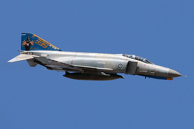 "Hellenic Air Force F-4E AUP Phantom II (71744; cn4998), still wearing the special c/s for the ""Celebration of 65 years operations by AIAS"", going through its paces during the Athens Flying Week at Tanagra AFB (2018)."