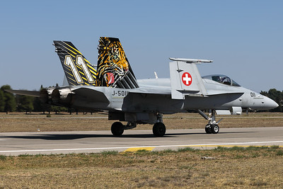 "Swiss Air Force F/A-18C ""Tiger"" (J-5011; cn1351/SFC011), from Fliegerstaffel 11, seen here on the taxitrack, after its demo during the Athens Flying Week at Tanagra Air Base."