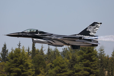 """The """"Dark Falcon"""" F-16AM (FA-101; cn6H-101), piloted by Stefan """"Vador"""" Darte, seen here just after take-off during the Athens Flying Week at Tanagra Air Base."""