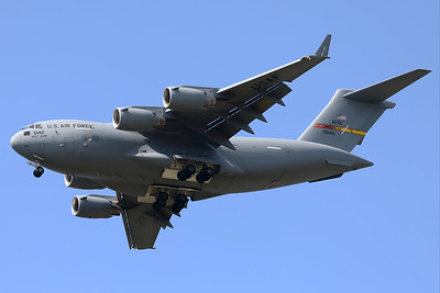 """A USAF C-17A Globemaster III (05-5142; cn50150/F149/P142) from the 729th Airlift Squadron, assigned to the 452d Operations Group, stationed at March Joint Air Reserve Base, performs a fly-by, during the """"Luchtmachtdagen 2019"""" at Volkel AFB."""