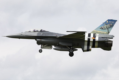 """Belgian Air Force F-16AM (FA-57; cn6H-57), with """"invasion stripes"""" as special c/s to celebrate """"75 years D-Day"""", is seen here arriving at Volkel AFB. 350 Squadron (and sister-squadron 349) found their origin during the second WW and their pilots participated during operation """"Overlord"""" in Normandy."""