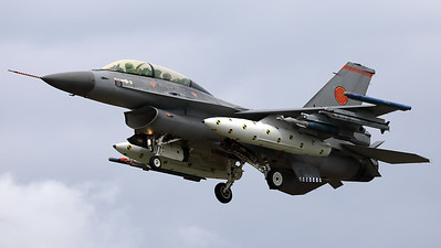"""A Royal Netherlands Air Force F-16BM ( J-066; cn6E-35; """"Orange Jumper"""") from 323Sqn at Leeuwarden AFB, is seen here on final at Volkel Air Base, during the arrival-day prior to the """"Luchtmachtdagen 2019""""."""