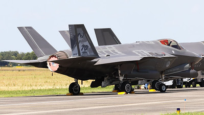 """Royal Netherlands Air Force F-35A Lightning II (F-001; cnAN-1) in the static during her second appearance at an airshow in the Netherlands, now with a special c/s to celebrate """"70 years of 323 Sqn"""" (""""Luchtmachtdagen 2019"""" at Volkel AFB)."""