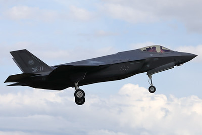 """An Italian Air Force F-35A (MM7361; 32-11) is seen here on arrival at Volkel AFB during late afternoon, prior to the """"Luchtmachtdagen 2019""""."""