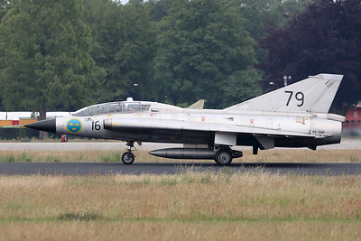 """The Swedish Air Force Historic Flight's Saab Sk35C Draken (SE-DXP/79; cn35-810), seen here completing its landing roll, after a very impressive demo during """"Luchtmachtdagen 19"""" at Volkel Air Base."""