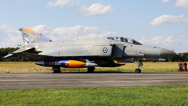"""Hellenic Air Force F-4E AUP Phantom II (01507; cn4465) from 338 Sqn, in the static during the """"Luchtmachtdagen 2019"""" at Volkel, with a special c/s to celebrate their visit to """"Pholkel""""."""