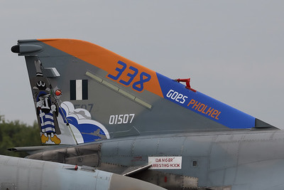 """Tail close-up of a Hellenic Air Force F-4E AUP Phantom II (01507; cn4465) from 338 Sqn, in the static during the """"Luchtmachtdagen 2019"""" at Volkel, with a special c/s to celebrate their visit to """"Pholkel""""."""