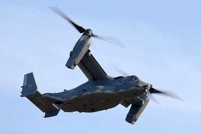 "A CV-22B ""Osprey"" (12-0064; cnD1045) from the 7th Special Operations Squadron at Mildenhall, performs a fly-by during the 2019 Sanicole Sunset Air Show. The 7th SOS is an active flying unit of the United States Air Force. It is a component of the 752d Special Operations Group (752 SOG), United States Special Operations Command, and is currently based at Royal Air Force Station Mildenhall in Suffolk, UK. From their base at RAF Mildenhall, the 7th Special Operations Squadron is able to deploy or extract troops from hostile, sensitive, or otherwise undesirable locations. The squadron flies the CV-22 Osprey. Their mission is to provide long-range infiltration, exfiltration and resupply of non conventional special operation forces. The CV-22 is fitted with advanced electronic warfare systems, terrain following and avoidance radars, and navigation systems allowing them to operate under almost any adverse weather or time condition, to maximum efficiency."